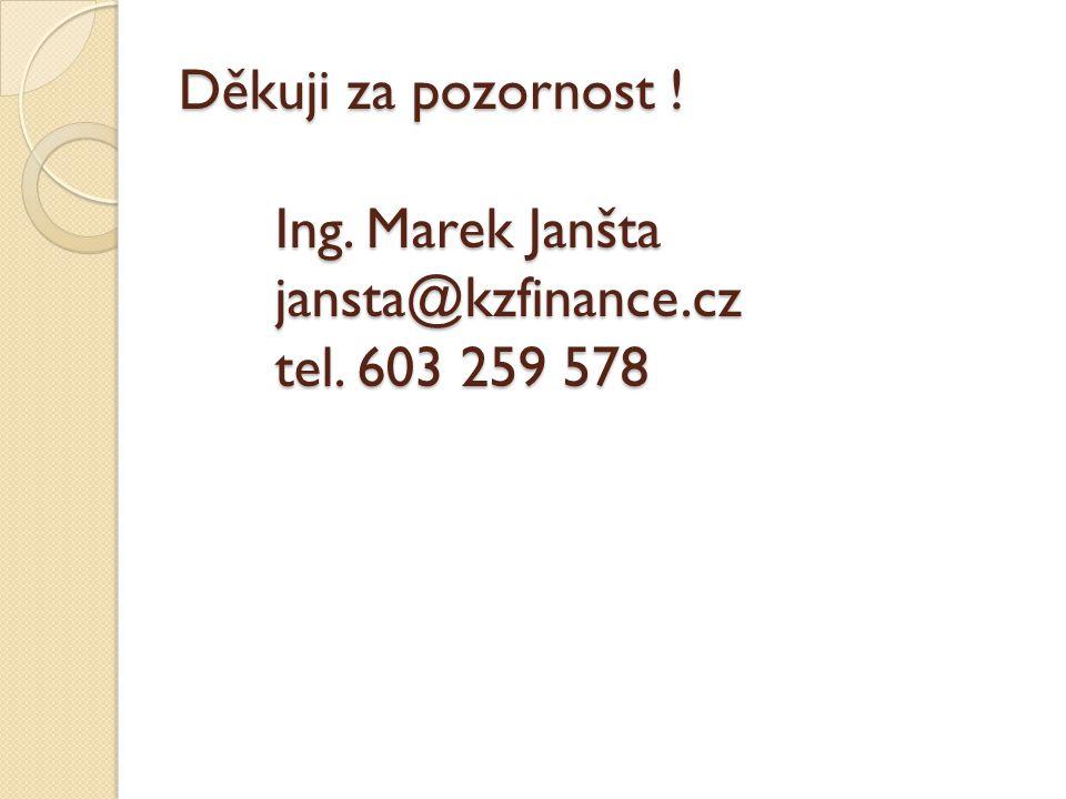 Děkuji za pozornost ! Ing. Marek Janšta jansta@kzfinance.cz tel. 603 259 578