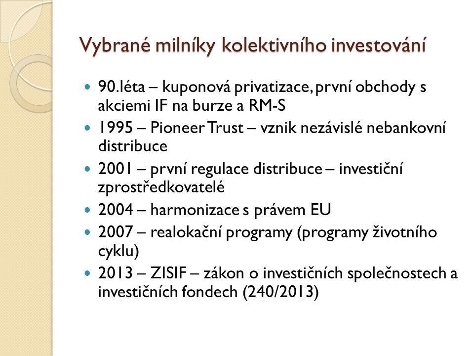 Vybrané milníky kolektivního investování 90.léta – kuponová privatizace, první obchody s akciemi IF na burze a RM-S 1995 – Pioneer Trust – vznik nezávislé nebankovní distribuce 2001 – první regulace distribuce – investiční zprostředkovatelé 2004 – harmonizace s právem EU 2007 – realokační programy (programy životního cyklu) 2013 – ZISIF – zákon o investičních společnostech a investičních fondech (240/2013)