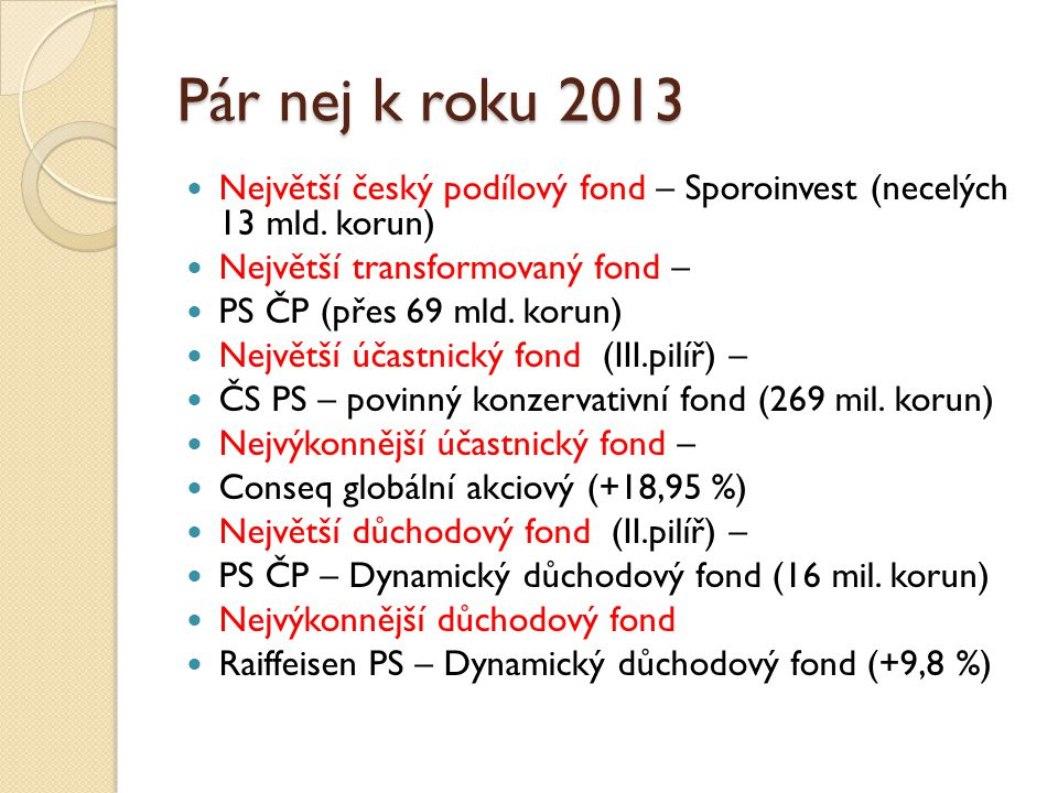Pár nej k roku 2013 Největší český podílový fond – Sporoinvest (necelých 13 mld.