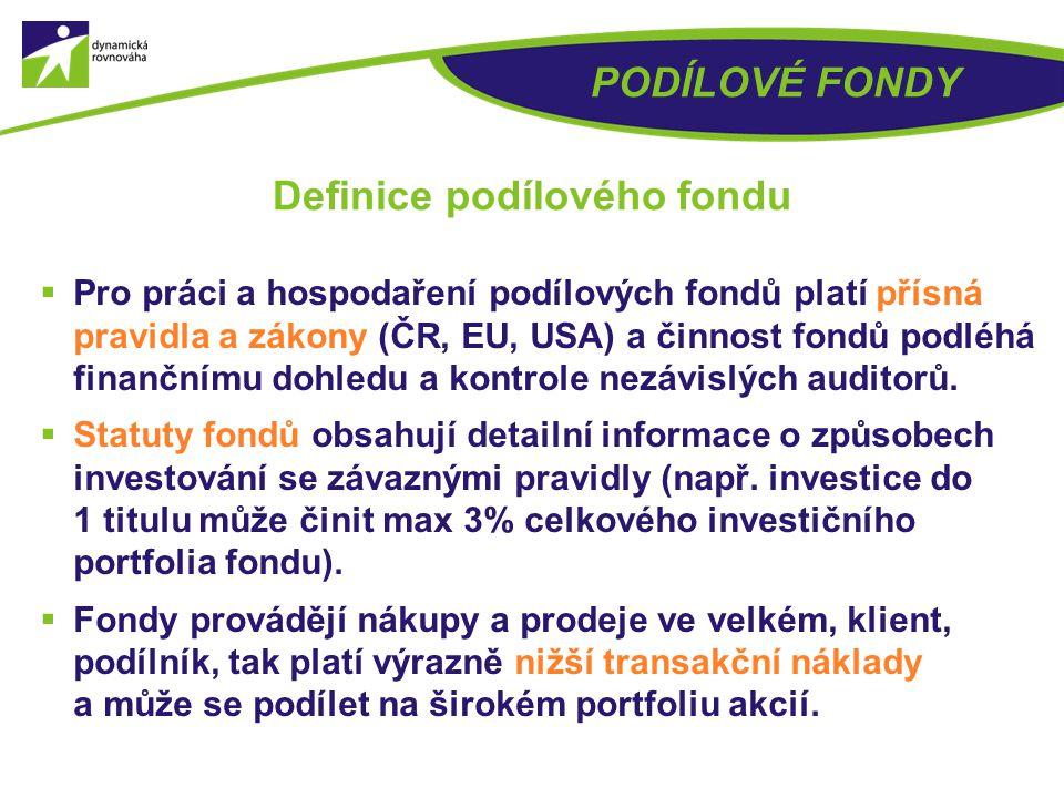  Podílový fond je organizační složka investiční společnosti, která podílový fond zakládá a spravuje majetek do něj vložený investory podle předem sta