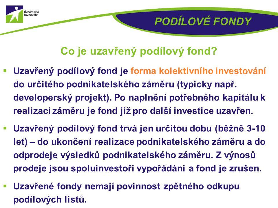  Uzavřený podílový fond  Otevřený podílový fond (OPF) PODÍLOVÉ FONDY Základní typy podílových fondů