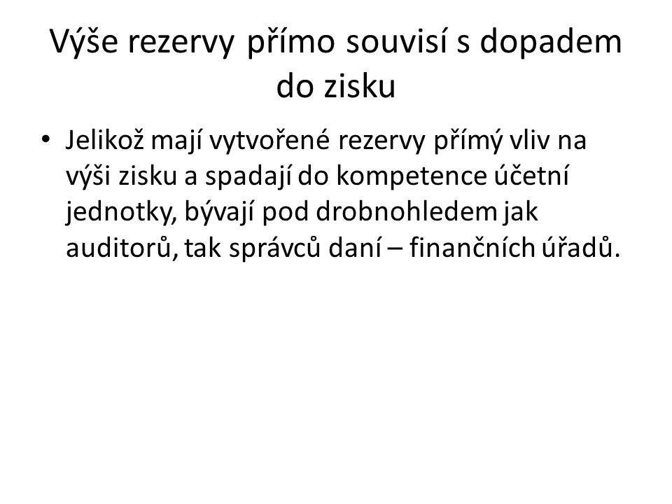 Výše rezervy přímo souvisí s dopadem do zisku Jelikož mají vytvořené rezervy přímý vliv na výši zisku a spadají do kompetence účetní jednotky, bývají