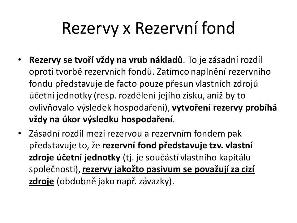 Rezervy x Rezervní fond Rezervy se tvoří vždy na vrub nákladů. To je zásadní rozdíl oproti tvorbě rezervních fondů. Zatímco naplnění rezervního fondu