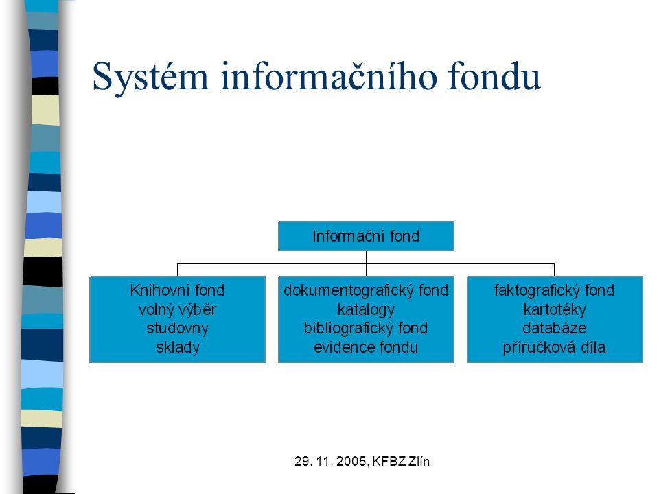 29. 11. 2005, KFBZ Zlín Systém informačního fondu