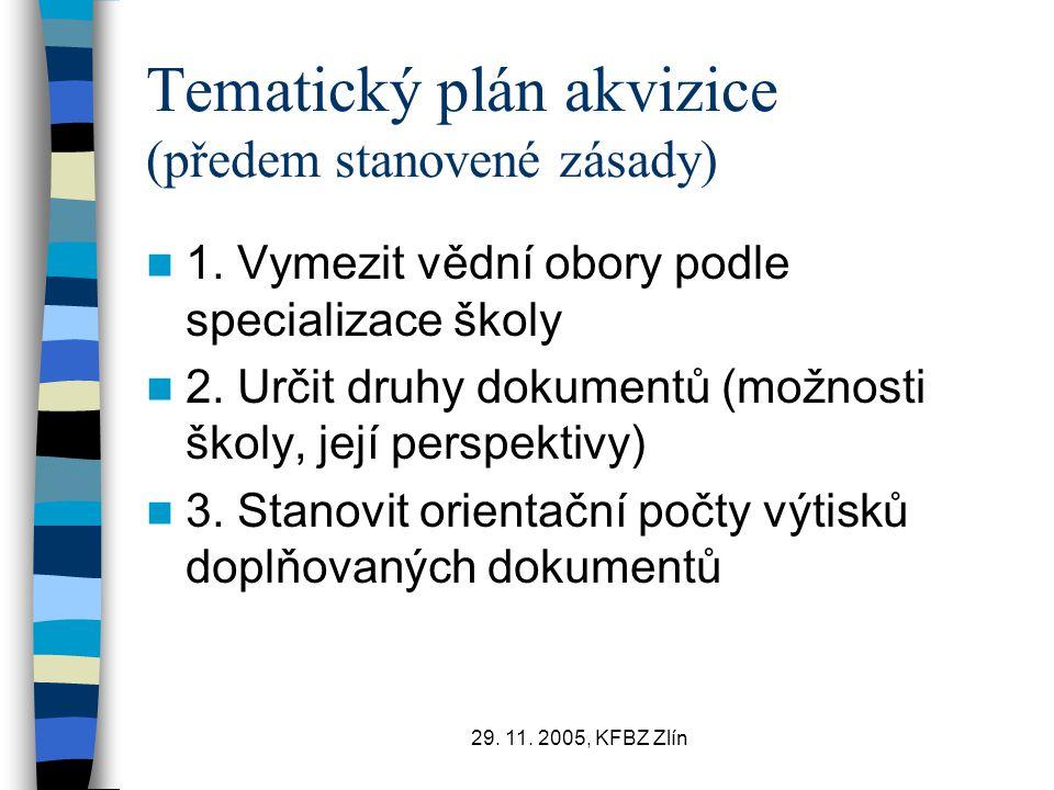 29.11. 2005, KFBZ Zlín Tematický plán akvizice (předem stanovené zásady) 1.
