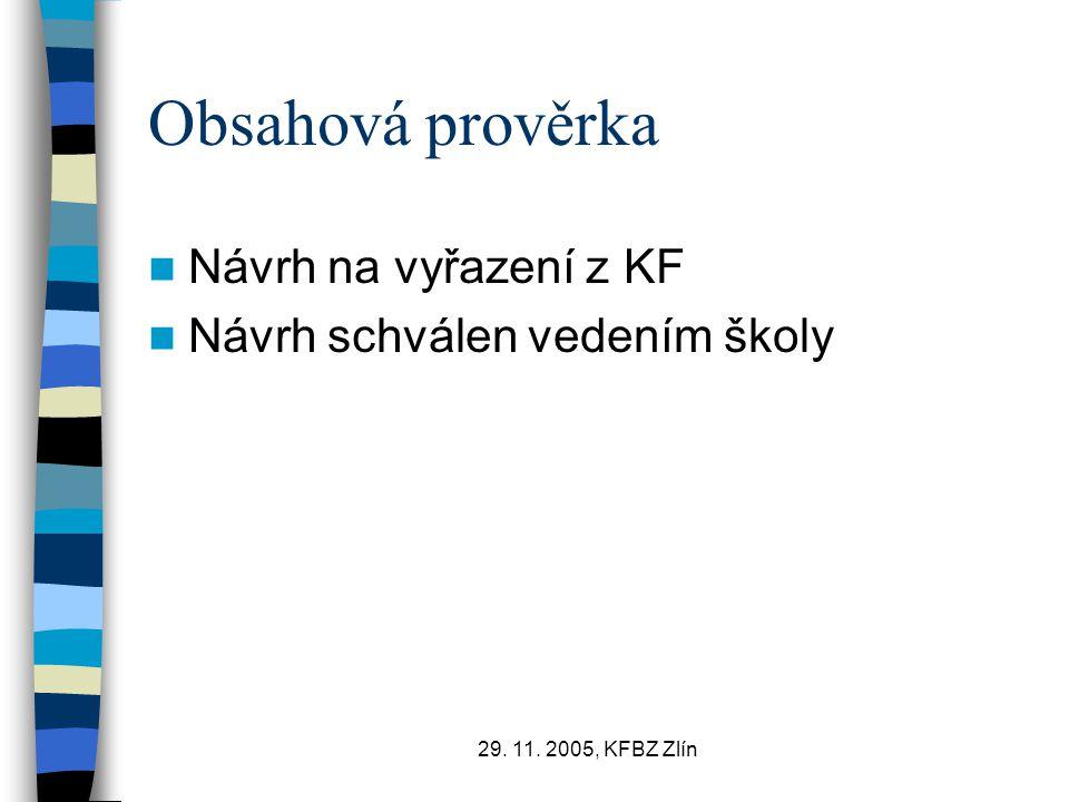 29. 11. 2005, KFBZ Zlín Obsahová prověrka Návrh na vyřazení z KF Návrh schválen vedením školy
