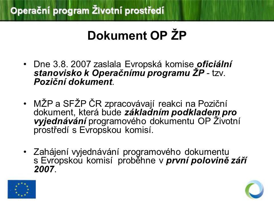 Dne 3.8. 2007 zaslala Evropská komise oficiální stanovisko k Operačnímu programu ŽP - tzv. Poziční dokument. MŽP a SFŽP ČR zpracovávají reakci na Pozi
