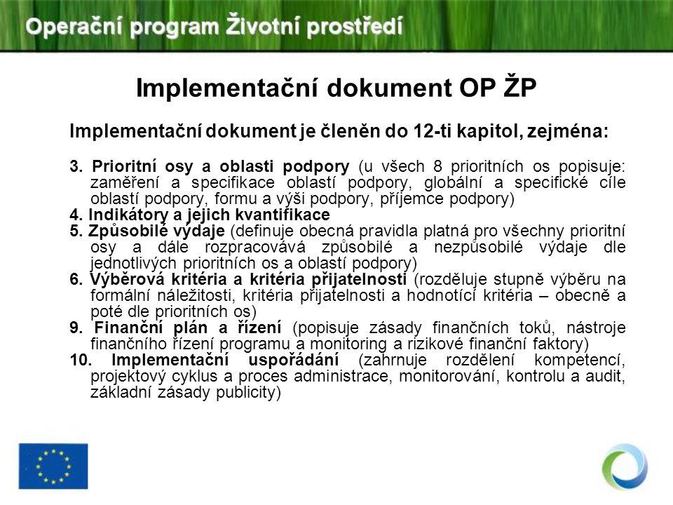 Implementační dokument OP ŽP Implementační dokument je členěn do 12-ti kapitol, zejména: 3. Prioritní osy a oblasti podpory (u všech 8 prioritních os