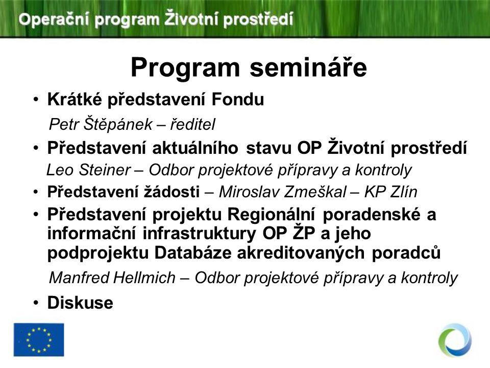 Program semináře Krátké představení Fondu Petr Štěpánek – ředitel Představení aktuálního stavu OP Životní prostředí Leo Steiner – Odbor projektové pří
