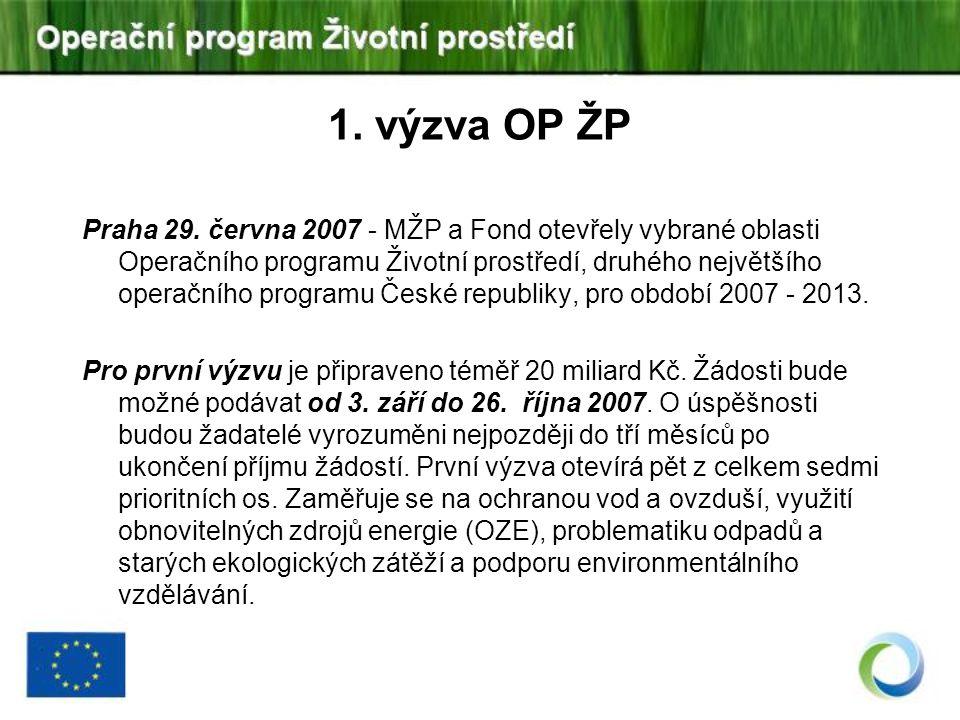 Praha 29. června 2007 - MŽP a Fond otevřely vybrané oblasti Operačního programu Životní prostředí, druhého největšího operačního programu České republ