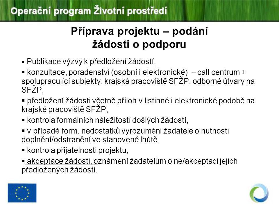 Příprava projektu – podání žádosti o podporu  Publikace výzvy k předložení žádostí,  konzultace, poradenství (osobní i elektronické) – call centrum