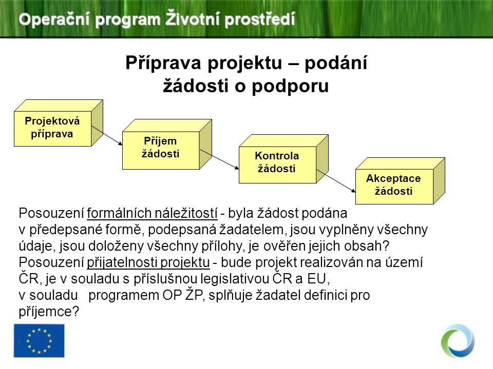 Příjem žádosti Projektová příprava Kontrola žádosti Akceptace žádosti Příprava projektu – podání žádosti o podporu Posouzení formálních náležitostí -
