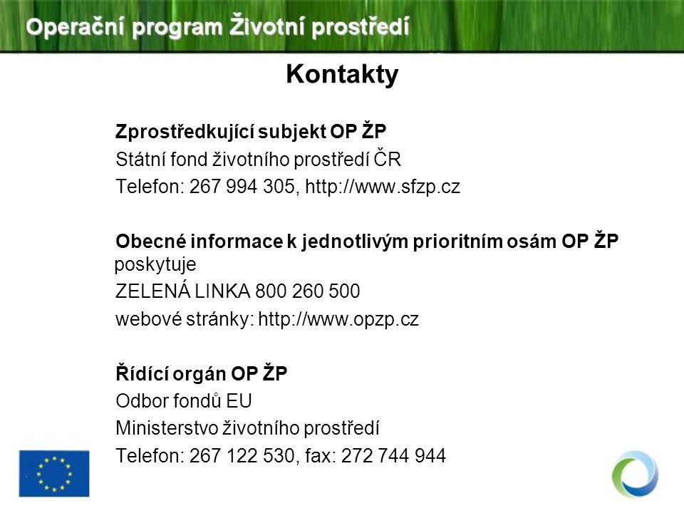 Kontakty Zprostředkující subjekt OP ŽP Státní fond životního prostředí ČR Telefon: 267 994 305, http://www.sfzp.cz Obecné informace k jednotlivým prio