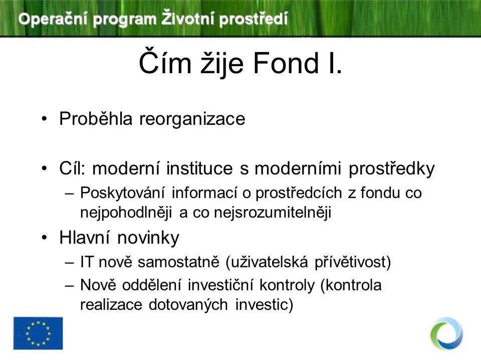 Čím žije Fond I. Proběhla reorganizace Cíl: moderní instituce s moderními prostředky –Poskytování informací o prostředcích z fondu co nejpohodlněji a
