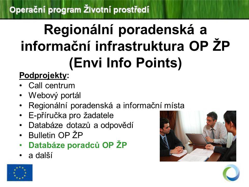 Regionální poradenská a informační infrastruktura OP ŽP (Envi Info Points) Podprojekty: Call centrum Webový portál Regionální poradenská a informační