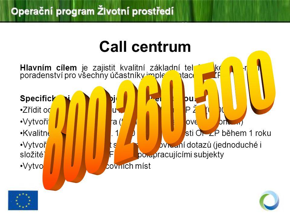 Call centrum Hlavním cílem je zajistit kvalitní základní telefonické a e-mailové poradenství pro všechny účastníky implementace OP ŽP. Specifickými cí