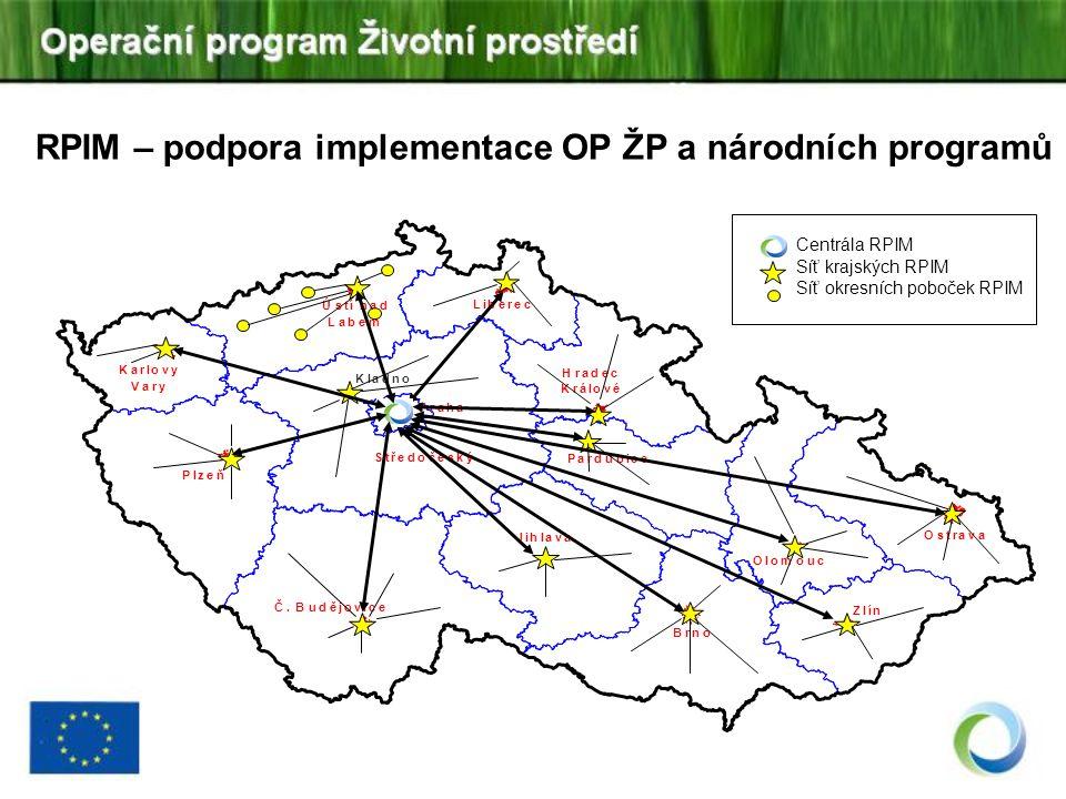 RPIM – podpora implementace OP ŽP a národních programů Ostrava Brno Plzeň Zlín Olomouc Č. Budějovice Hradec Králové Pardubice Jihlava Karlovy Vary Úst
