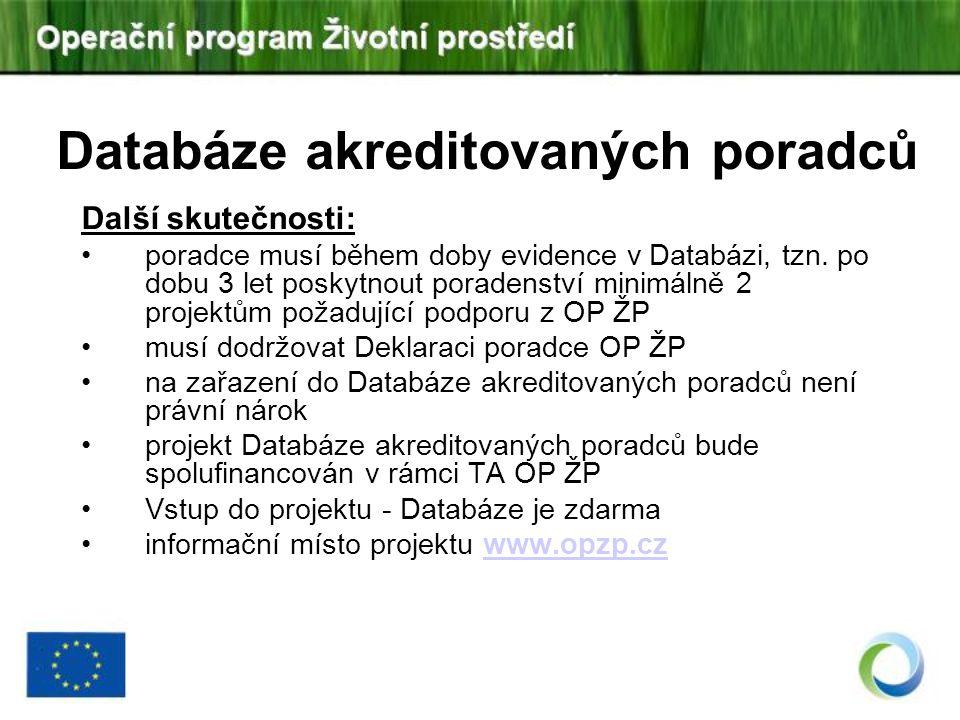 Databáze akreditovaných poradců Další skutečnosti: poradce musí během doby evidence v Databázi, tzn. po dobu 3 let poskytnout poradenství minimálně 2