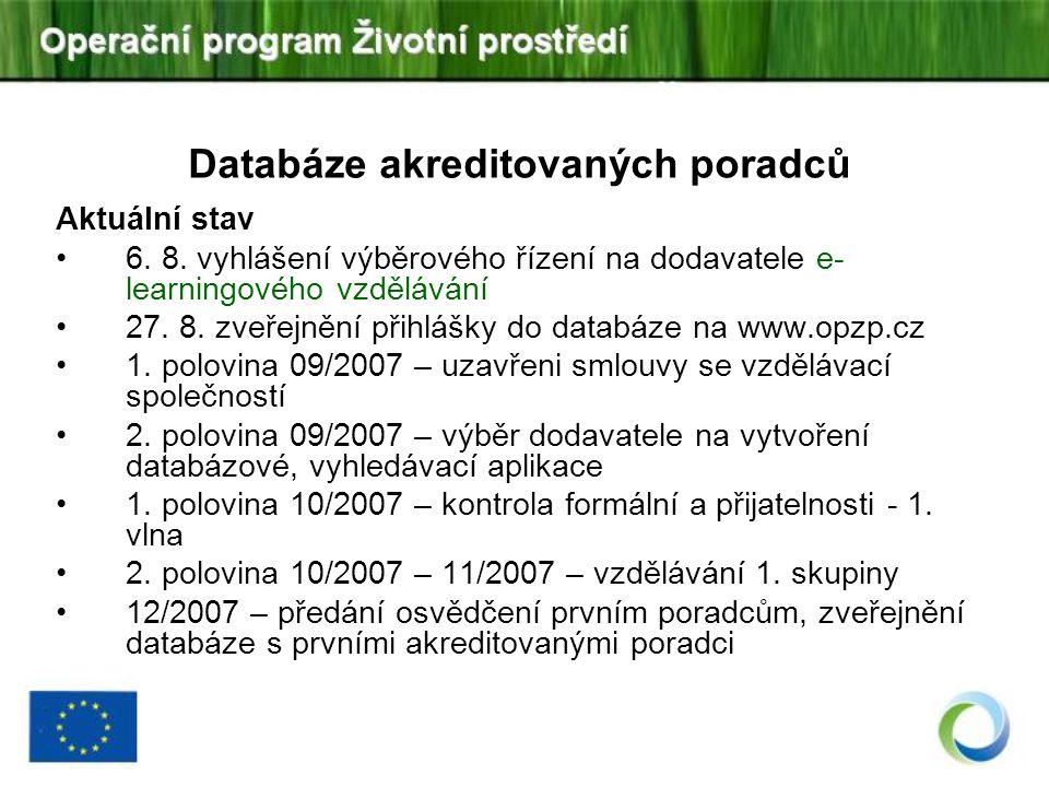 Databáze akreditovaných poradců Aktuální stav 6. 8. vyhlášení výběrového řízení na dodavatele e- learningového vzdělávání 27. 8. zveřejnění přihlášky