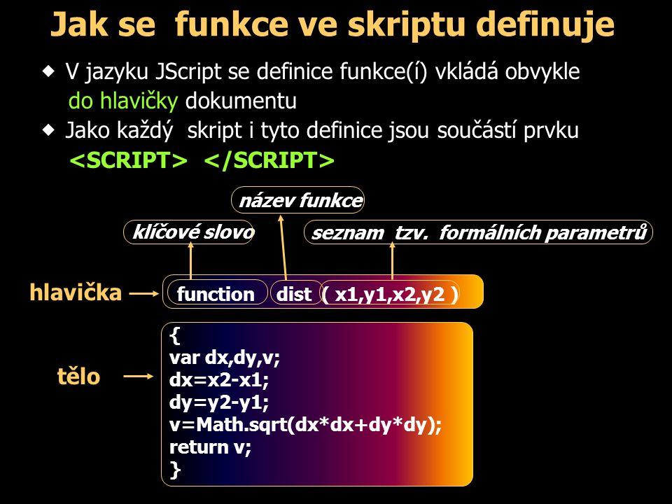 Jak se funkce ve skriptu definuje  V jazyku JScript se definice funkce(í) vkládá obvykle do hlavičky dokumentu  Jako každý skript i tyto definice js