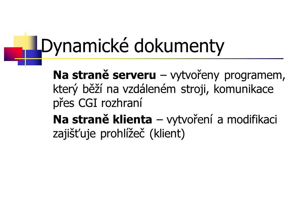 Dynamické dokumenty Na straně serveru – vytvořeny programem, který běží na vzdáleném stroji, komunikace přes CGI rozhraní Na straně klienta – vytvoření a modifikaci zajišťuje prohlížeč (klient)