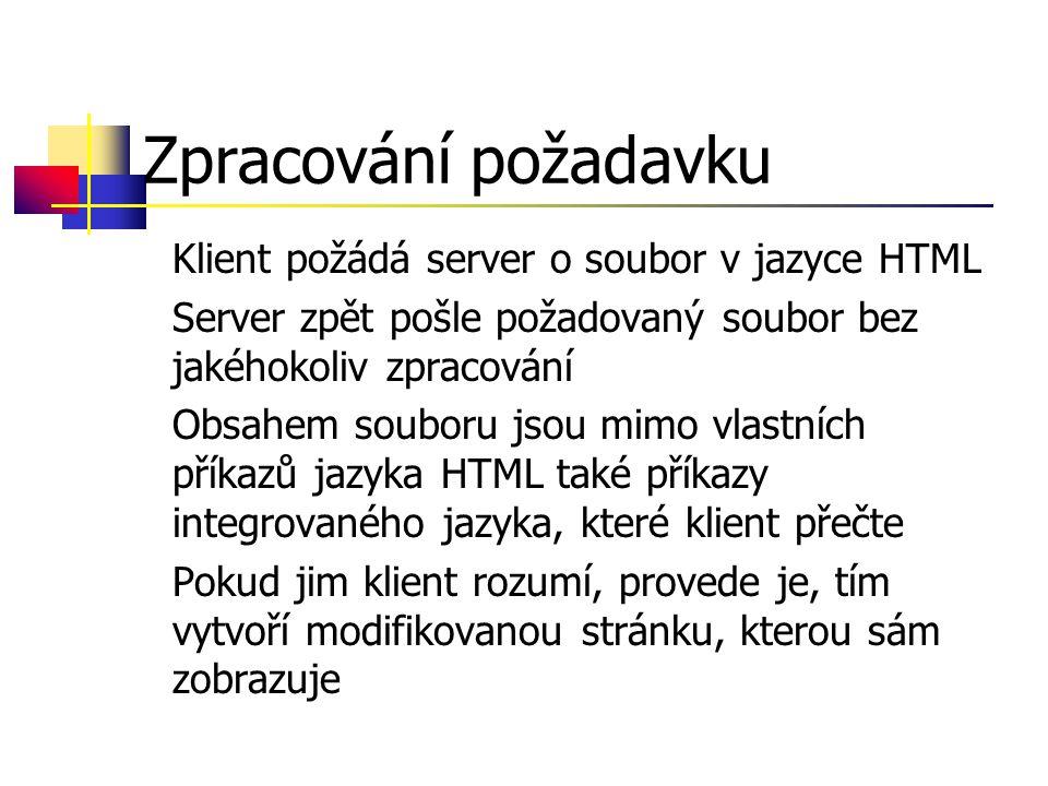 Zpracování požadavku Klient požádá server o soubor v jazyce HTML Server zpět pošle požadovaný soubor bez jakéhokoliv zpracování Obsahem souboru jsou mimo vlastních příkazů jazyka HTML také příkazy integrovaného jazyka, které klient přečte Pokud jim klient rozumí, provede je, tím vytvoří modifikovanou stránku, kterou sám zobrazuje