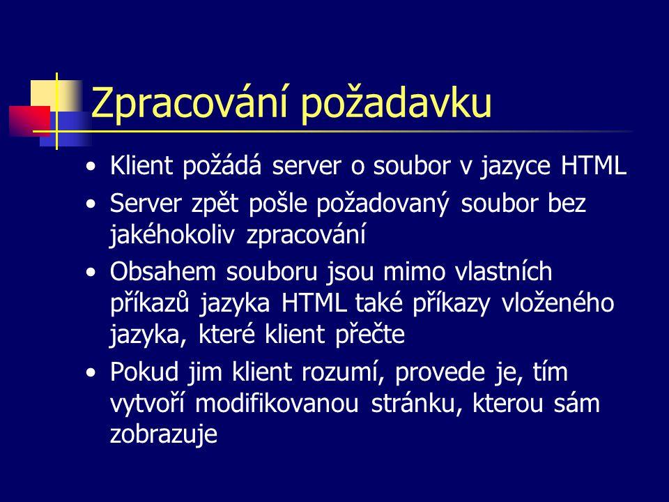 Zpracování požadavku Klient požádá server o soubor v jazyce HTML Server zpět pošle požadovaný soubor bez jakéhokoliv zpracování Obsahem souboru jsou mimo vlastních příkazů jazyka HTML také příkazy vloženého jazyka, které klient přečte Pokud jim klient rozumí, provede je, tím vytvoří modifikovanou stránku, kterou sám zobrazuje