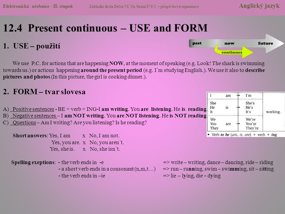 12.4 Present continuous – USE and FORM 1. USE – použití We use P.C. for actions that are happening NOW, at the moment of speaking (e.g. Look! The shar