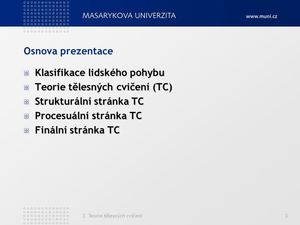 2. Teorie tělesných cvičení3 Osnova prezentace Klasifikace lidského pohybu Teorie tělesných cvičení (TC) Strukturální stránka TC Procesuální stránka T