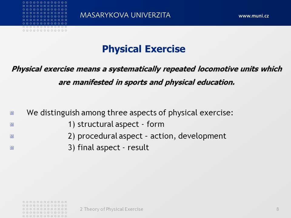 2 Theory of Physical Exercise8 Physical Exercise We distinguish among three aspects of physical exercise: 1) structural aspect - form 2) procedural as