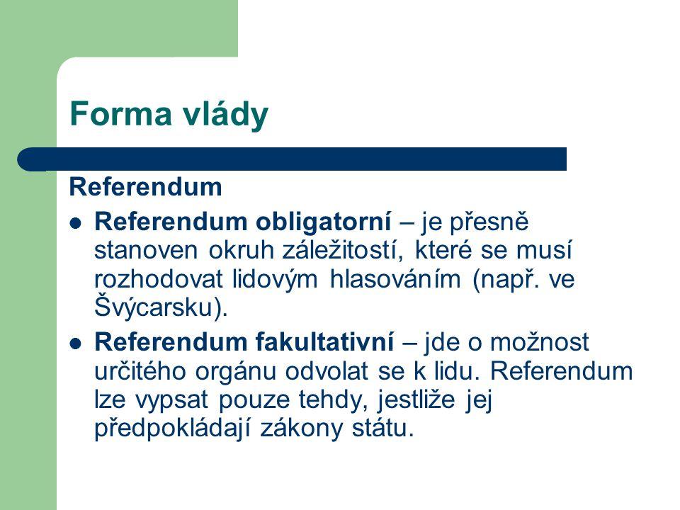 Forma vlády Referendum Referendum obligatorní – je přesně stanoven okruh záležitostí, které se musí rozhodovat lidovým hlasováním (např. ve Švýcarsku)