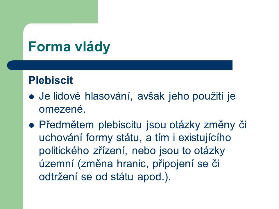 Forma vlády Plebiscit Je lidové hlasování, avšak jeho použití je omezené.