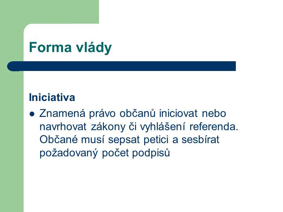 Forma vlády Iniciativa Znamená právo občanů iniciovat nebo navrhovat zákony či vyhlášení referenda. Občané musí sepsat petici a sesbírat požadovaný po