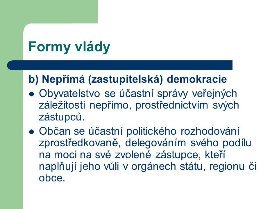 Formy vlády b) Nepřímá (zastupitelská) demokracie Obyvatelstvo se účastní správy veřejných záležitosti nepřímo, prostřednictvím svých zástupců.