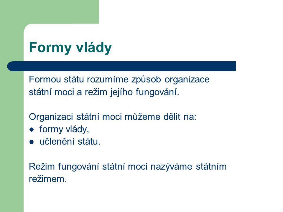 Formy vlády 1.Formy vlády Forma vlády je způsob organizace státní moci.