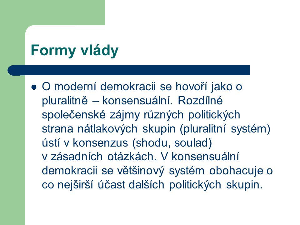 Formy vlády O moderní demokracii se hovoří jako o pluralitně – konsensuální. Rozdílné společenské zájmy různých politických strana nátlakových skupin