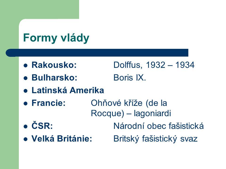 Formy vlády Rakousko: Dolffus, 1932 – 1934 Bulharsko: Boris IX. Latinská Amerika Francie:Ohňové kříže (de la Rocque) – lagoniardi ČSR:Národní obec faš