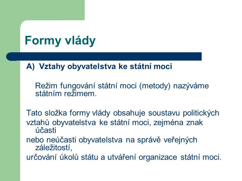 Formy vlády A) Vztahy obyvatelstva ke státní moci Režim fungování státní moci (metody) nazýváme státním režimem. Tato složka formy vlády obsahuje sous