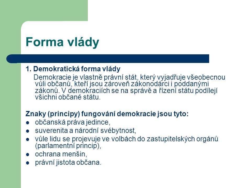 Forma vlády 1. Demokratická forma vlády Demokracie je vlastně právní stát, který vyjadřuje všeobecnou vůli občanů, kteří jsou zároveň zákonodárci i po