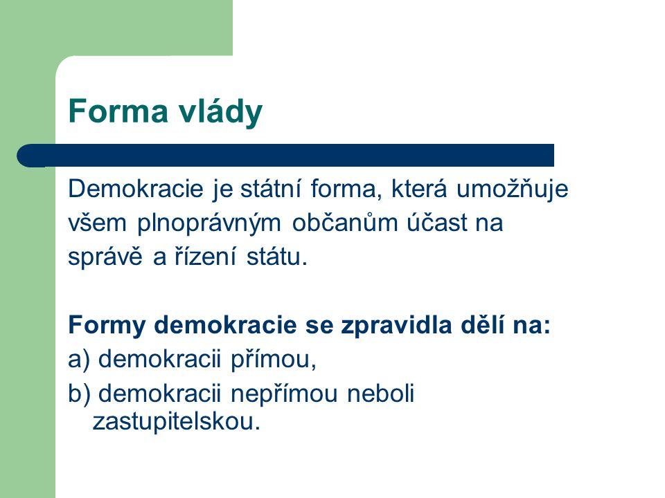 Forma vlády Demokracie je státní forma, která umožňuje všem plnoprávným občanům účast na správě a řízení státu. Formy demokracie se zpravidla dělí na: