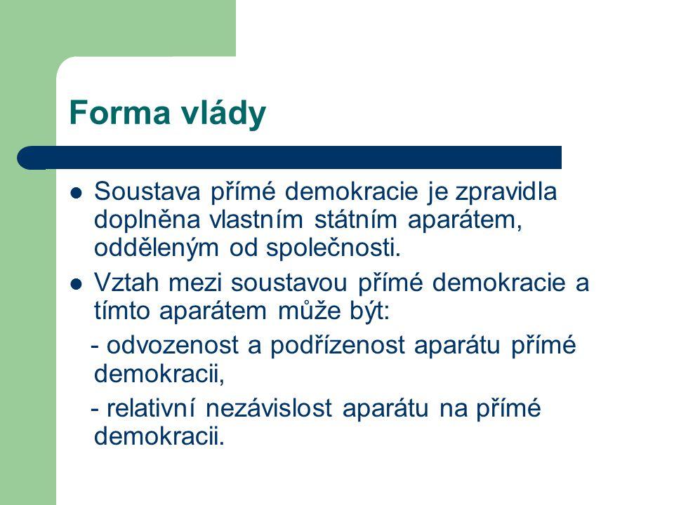 Forma vlády Soustava přímé demokracie je zpravidla doplněna vlastním státním aparátem, odděleným od společnosti. Vztah mezi soustavou přímé demokracie