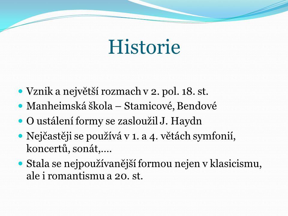 Historie Vznik a největší rozmach v 2. pol. 18. st. Manheimská škola – Stamicové, Bendové O ustálení formy se zasloužil J. Haydn Nejčastěji se používá