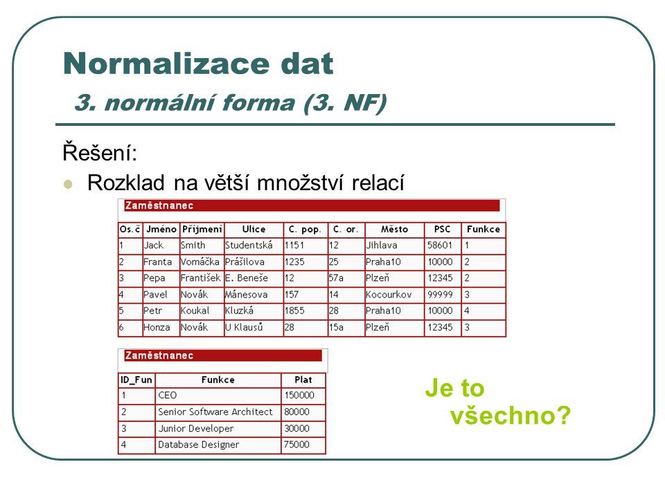 Normalizace dat 3. normální forma (3. NF) Řešení: Rozklad na větší množství relací Je to všechno?