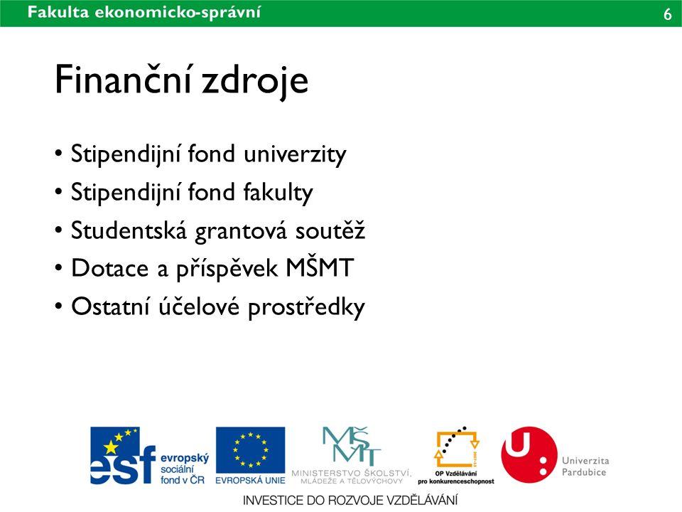 6 Finanční zdroje Stipendijní fond univerzity Stipendijní fond fakulty Studentská grantová soutěž Dotace a příspěvek MŠMT Ostatní účelové prostředky