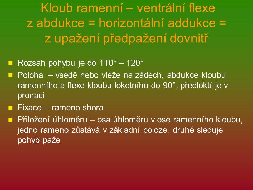 Kloub ramenní – ventrální flexe z abdukce = horizontální addukce = z upažení předpažení dovnitř Rozsah pohybu je do 110° – 120° Poloha – vsedě nebo vleže na zádech, abdukce kloubu ramenního a flexe kloubu loketního do 90°, předloktí je v pronaci Fixace – rameno shora Přiložení úhloměru – osa úhloměru v ose ramenního kloubu, jedno rameno zůstává v základní poloze, druhé sleduje pohyb paže