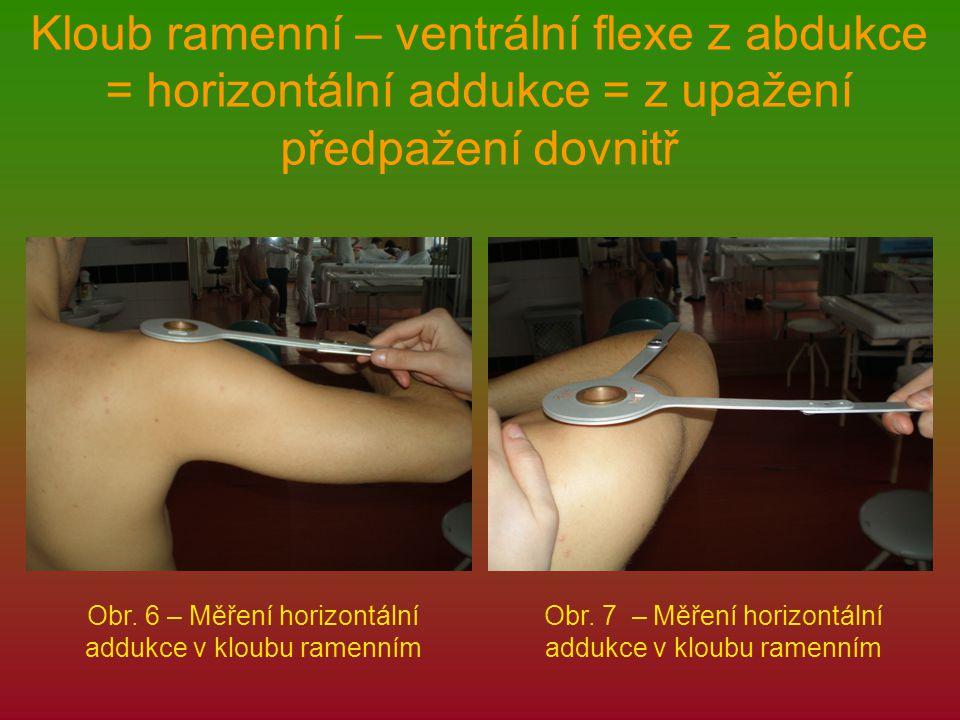 Kloub ramenní – ventrální flexe z abdukce = horizontální addukce = z upažení předpažení dovnitř Obr. 6 – Měření horizontální addukce v kloubu ramenním