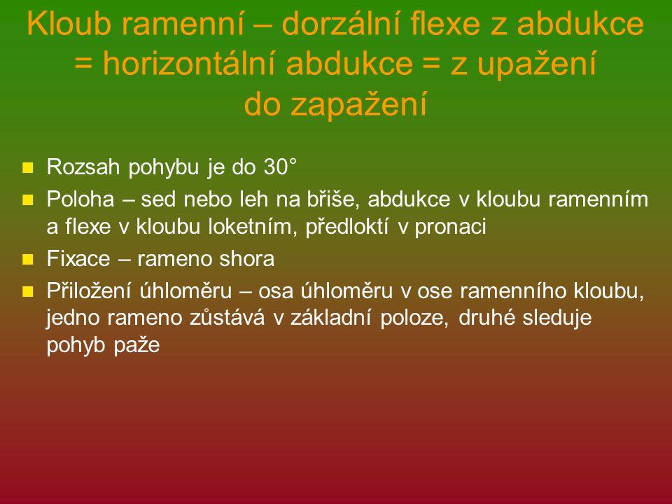 Kloub ramenní – dorzální flexe z abdukce = horizontální abdukce = z upažení do zapažení Rozsah pohybu je do 30° Poloha – sed nebo leh na břiše, abdukce v kloubu ramenním a flexe v kloubu loketním, předloktí v pronaci Fixace – rameno shora Přiložení úhloměru – osa úhloměru v ose ramenního kloubu, jedno rameno zůstává v základní poloze, druhé sleduje pohyb paže