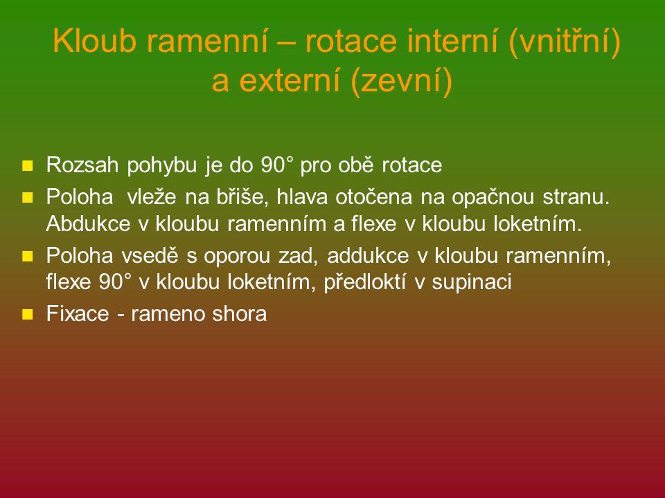 Kloub ramenní – rotace interní (vnitřní) a externí (zevní) Rozsah pohybu je do 90° pro obě rotace Poloha vleže na břiše, hlava otočena na opačnou stra