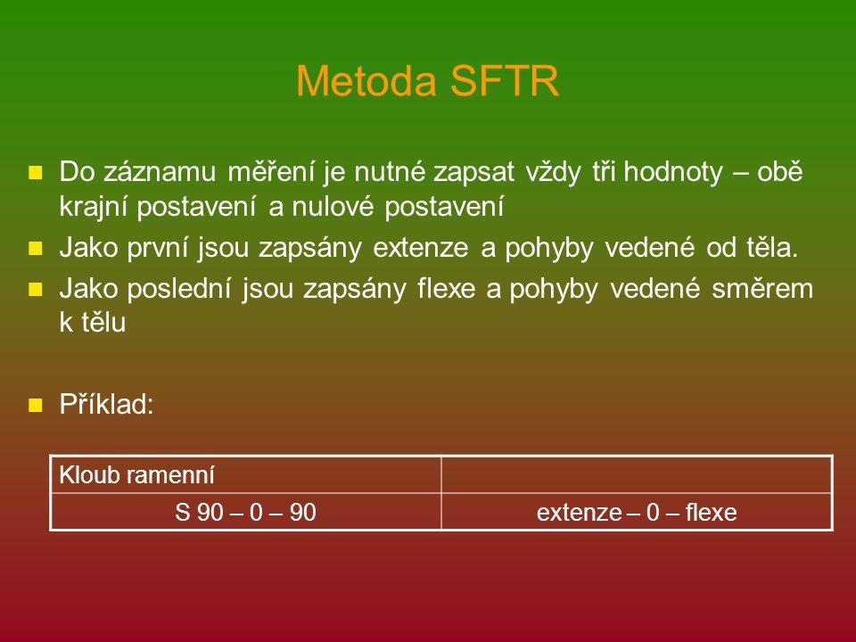 Metoda SFTR Do záznamu měření je nutné zapsat vždy tři hodnoty – obě krajní postavení a nulové postavení Jako první jsou zapsány extenze a pohyby vedené od těla.