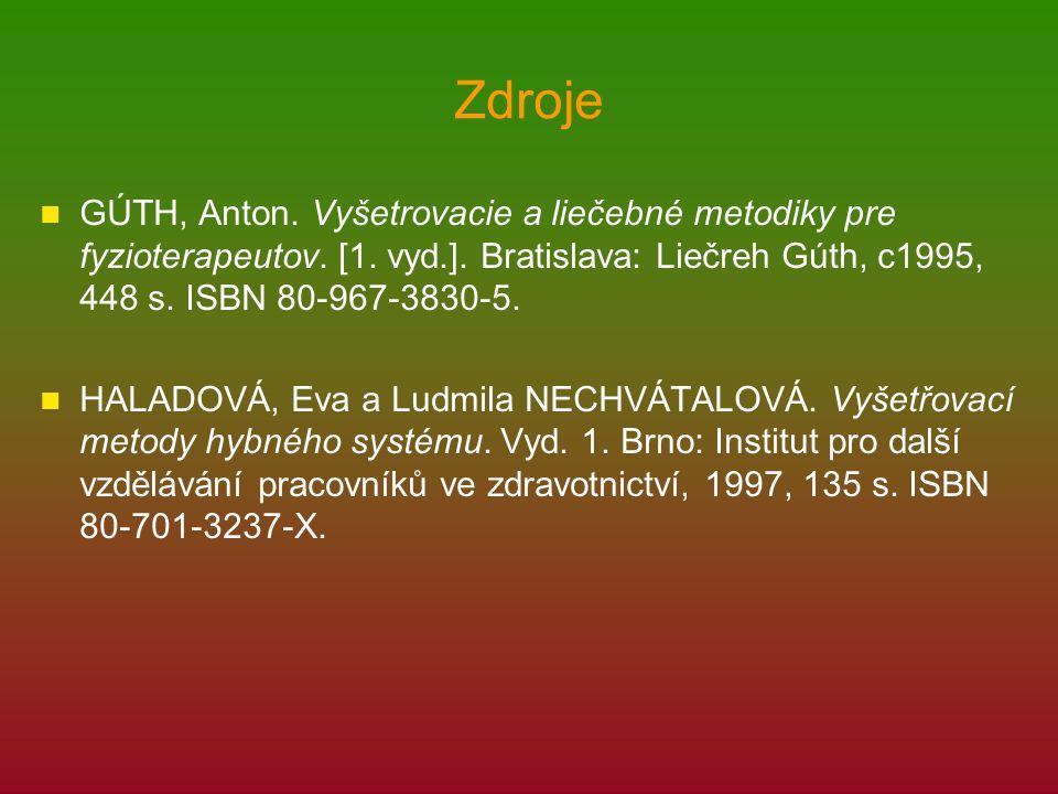 Zdroje GÚTH, Anton. Vyšetrovacie a liečebné metodiky pre fyzioterapeutov. [1. vyd.]. Bratislava: Liečreh Gúth, c1995, 448 s. ISBN 80-967-3830-5. HALAD